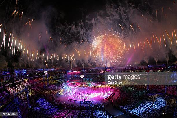 Fireworks go off towards the end of the Closing Ceremony of the Turin 2006 Winter Olympic Games on February 26, 2006 at the Olympic Stadium in Turin,...