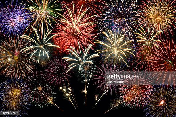 fireworks group - fireworks stock pictures, royalty-free photos & images