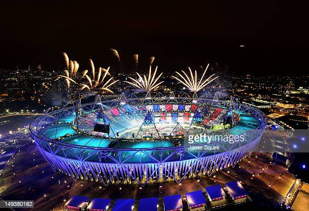 Fireworks ignite over the Olympic Stadium during the Opening Ceremony for the London 2012 Olympic Games on July 27, 2012 at Olympic Park in London,...