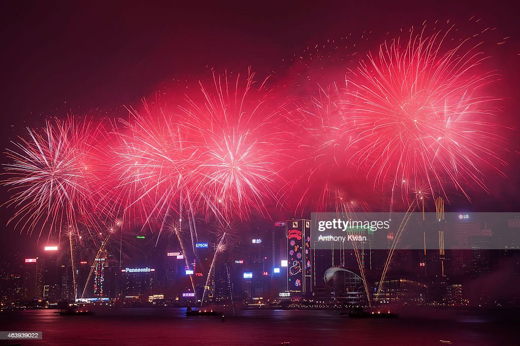 Fireworks illuminate the city's skyline on February 20, 2015 in Hong Kong. The Chinese lunar new year, which this year marks the Year of Sheep, is celebrated by Chinese communities the world over.