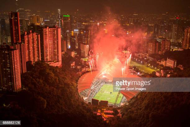Fireworks illuminate the Hong Kong Stadium to celebrate the Fiji team Winners of the 2015 edition of the Hong Kong Rugby Sevens on 29 March 2015 in...