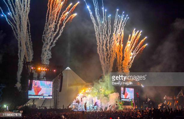 Fireworks illuminate the Pyramid stage as Stormzy performs during day three of Glastonbury Festival at Worthy Farm Pilton on June 28 2019 in...