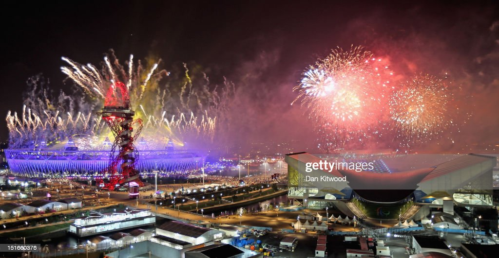 Fireworks illuminate the sky above the Olympic Park after the Closing Ceremony of the London 2012 Paralympic Games at Olympic Stadium on September 9, 2012 in London, England.