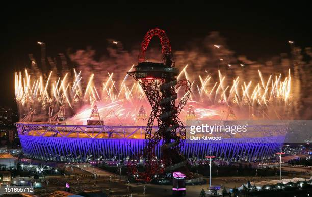 Fireworks illuminate the sky above the Olympic Park during the Closing Ceremony of the London 2012 Paralympic Games at Olympic Stadium on September 9...
