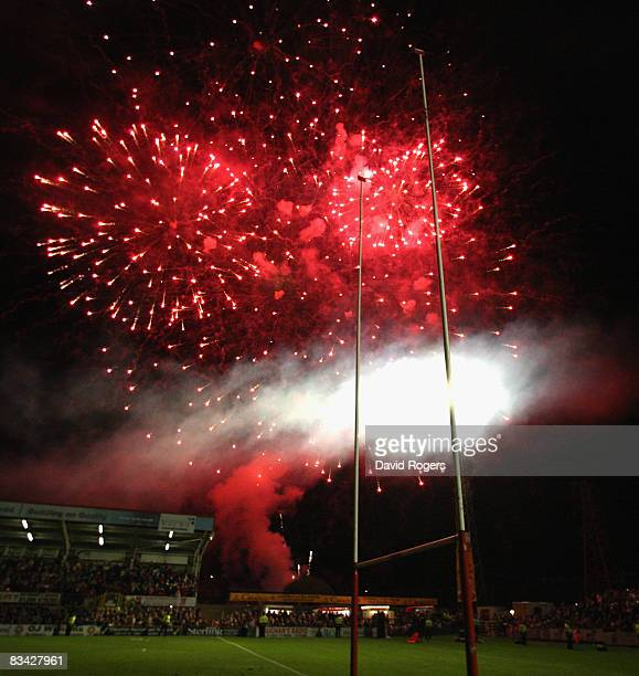 Fireworks illuminate the sky after at the final game at Stradey Park during the EDF Energy Cup match between Scarlets and Bristol at Stradey Park on...