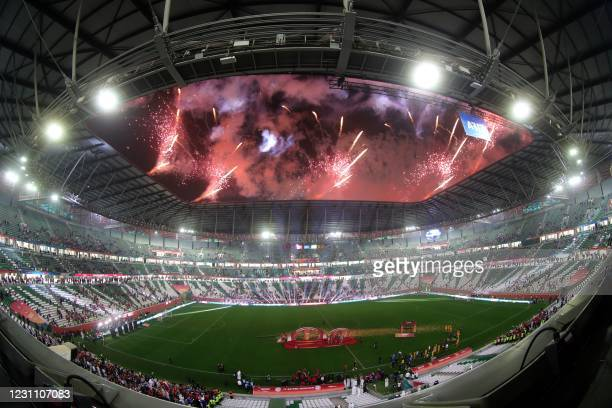 Fireworks illuminate the sky after the FIFA Club World Cup final football match between Germany's Bayern Munich vs Mexico's UANL Tigres at the...