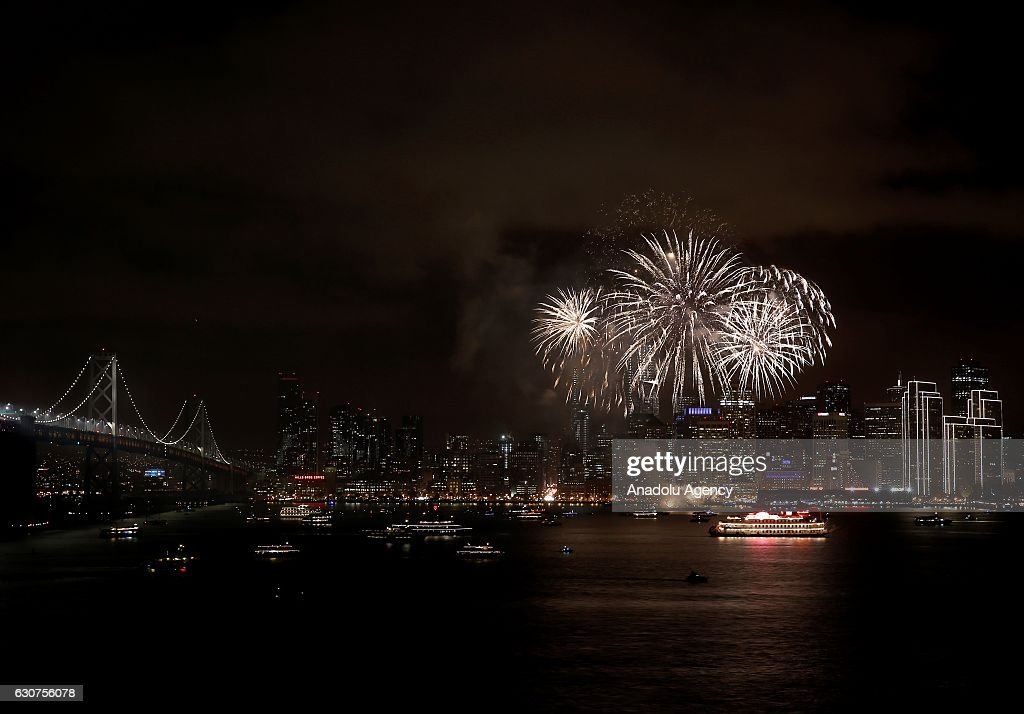 Fireworks illuminates the sky during the New Year celebrations in San Francisco, CA, USA on January 01, 2017.