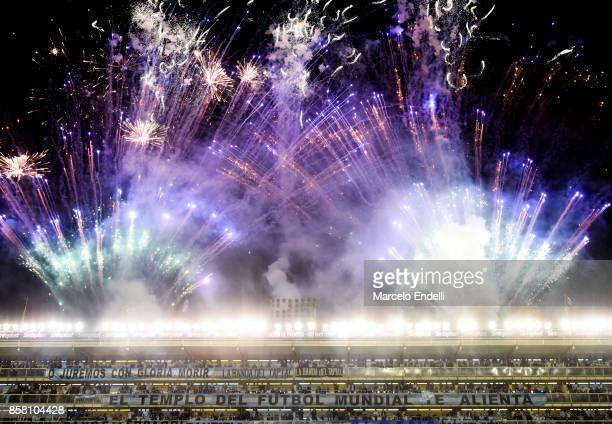 Fireworks in Alberto J Armando Stadium are seenbefore a match between Argentina and Peru as part of FIFA 2018 World Cup Qualifiers at Estadio Alberto...