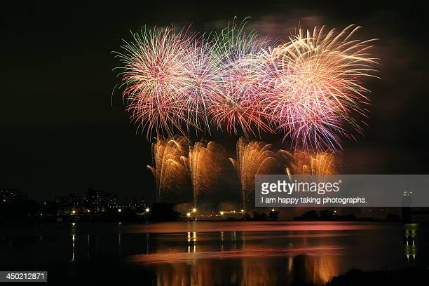 fireworks in chofu - chofu stock pictures, royalty-free photos & images