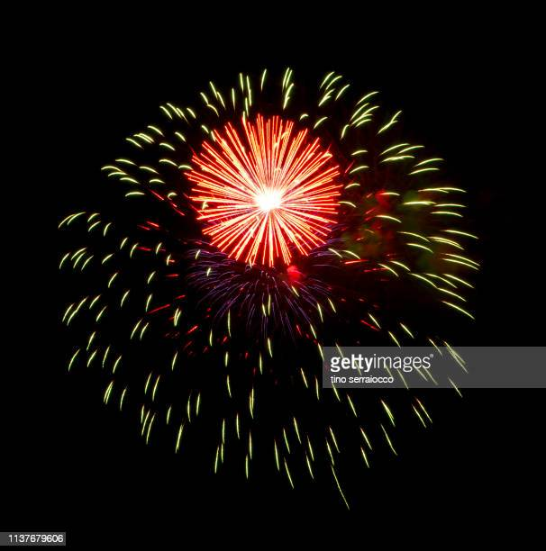 fireworks in dark italian night - independence day holiday stock pictures, royalty-free photos & images