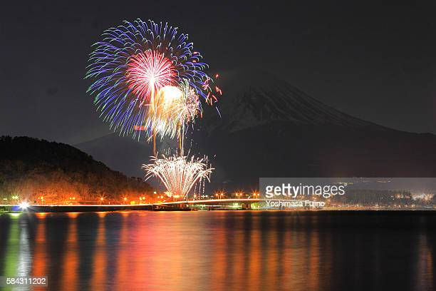 Fireworks in front of Mt Fuji