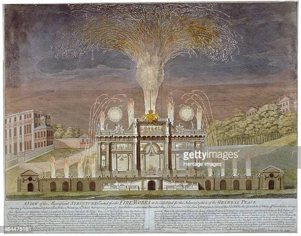 Fireworks in Green Park, Westminster, London, 1749. A fireworks display, with music specially composed by Handel, was held to celebrate the end of...