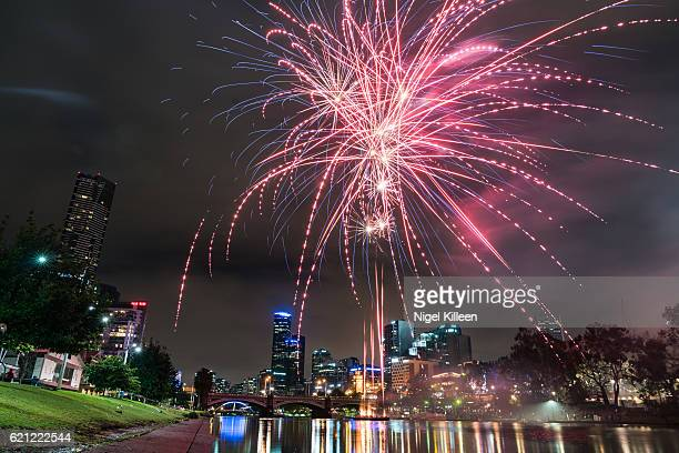 fireworks in melbourne, australia - diwali celebration stock photos and pictures