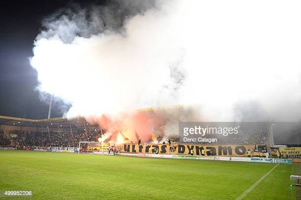 Fireworks in the Dynamo Dresden supporters block during the dritte LIga match between SG Sonnenhof Grossaspach vs Dynamo Dresden on December 4 2015...