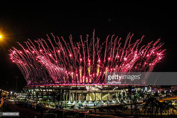 Fireworks in the outside area of the Maracana stadium during the opening of the Rio 2016 Olympic Games, on August 5 Moving people from all over the...