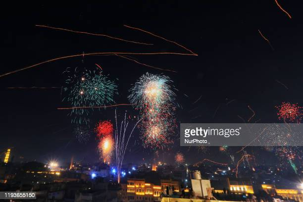 Fireworks in the walled city area on the occasion of the Makar Sakranti Festival in Jaipur, Rajasthan, India. Jan 14, 2020.