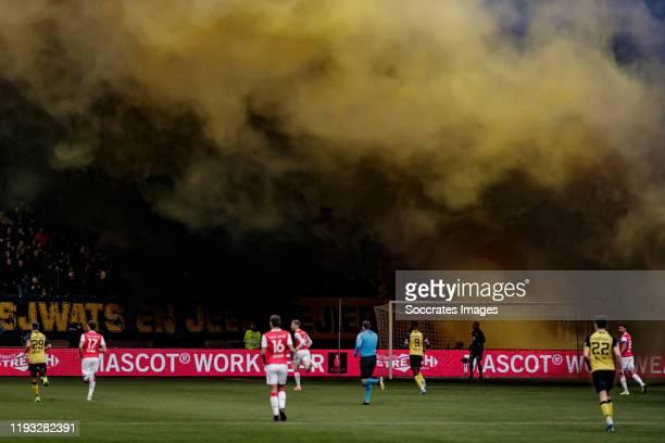 Fireworks inside the stadium during the Dutch Keuken Kampioen Divisie match between Roda JC v MVV Maastricht at the Parkstad Limburg Stadium on...