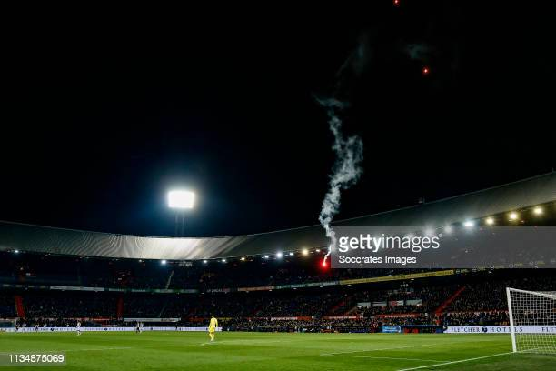 fireworks inside the stadium of Feyenoord during the Dutch Eredivisie match between Feyenoord v SC Heerenveen at the Stadium Feijenoord on April 4...