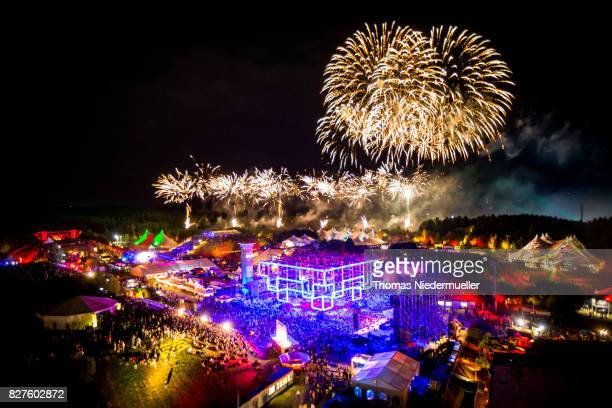 Fireworks is seen at the 'Nature One' massive rave held at the former US rocket base Pydna on August 6 2017 in Kastellaun Germany