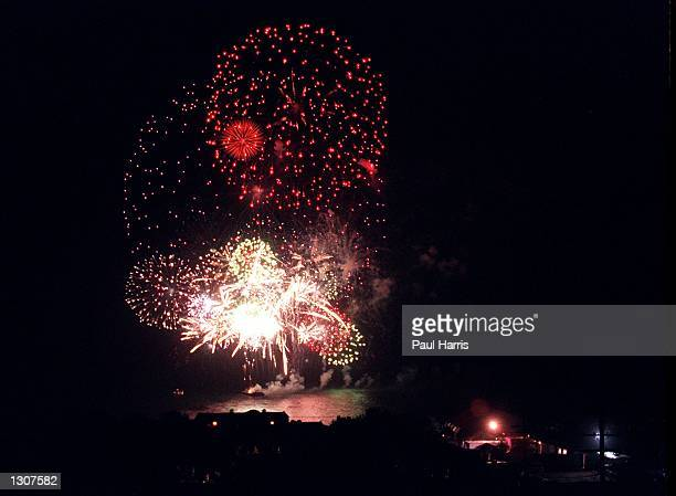 Fireworks light the Malibu sky after Brad Pitt and Jennifer Annistons wedding July 29 2000 in Malibu CA The compound where the couple where married...