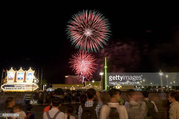 Fireworks light the night sky during celebrations marking the Water Festival in Phnom Penh on November 13 2016 Cambodia celebrates its annual water...