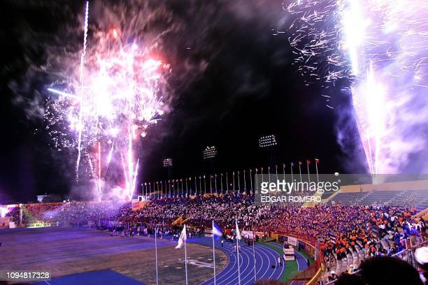 Fireworks light the night sky during the opening ceremony of the XIX Central American and Caribbean Games at the Flor Blanca National Stadium 23...