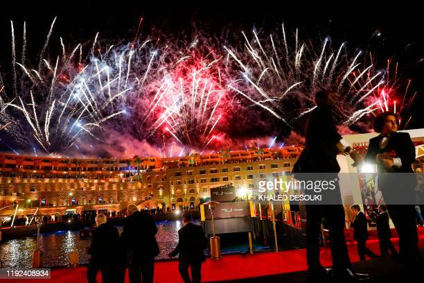 Fireworks light the sky during the 2019 CAF Awards in the Egyptian resort town of Hurghada on January 7 2020