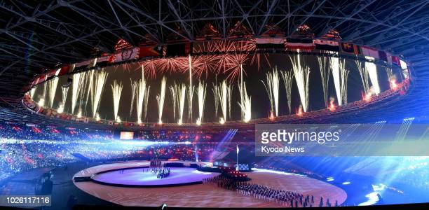 Fireworks light the sky during the closing ceremony for the Asian Games at Gelora Bung Karno Stadium in Jakarta Indonesia on Sept 2 2018 ==Kyodo