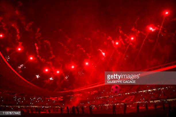 Fireworks light the sky during the opening ceremony of the Arab Club Championship football match between Saudi's Al-Hilal and Tunisia's Etoile Du...