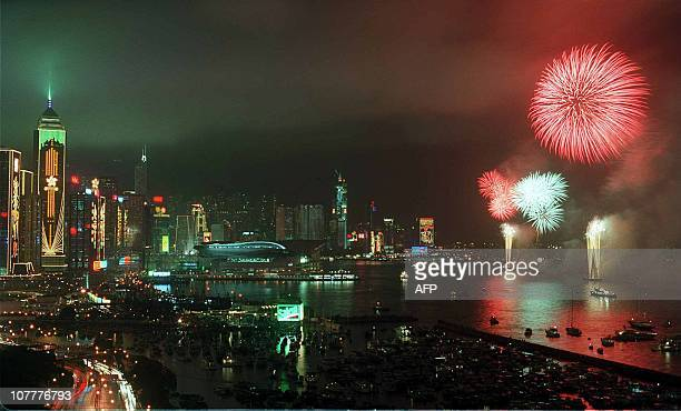Fireworks light up Hong Kong's Victoria Harbour to mark the British withdrawal from the territory 30 June At midnight Hong Kong was handed over to...