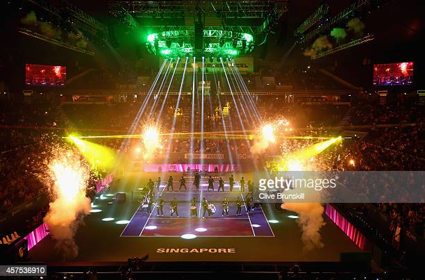 Fireworks light up the court at the opening ceremony prior to the start of the opening round robin match of the BNP Paribas WTA Finals at Singapore...