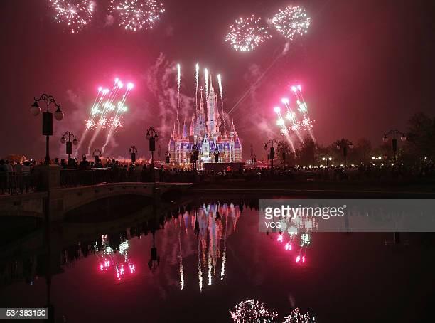 Fireworks light up the Enchanted Storybook Castle as a shining symbol of Shanghai Disneyland on May 25 2016 in Shanghai China The Shanghai Disneyland...