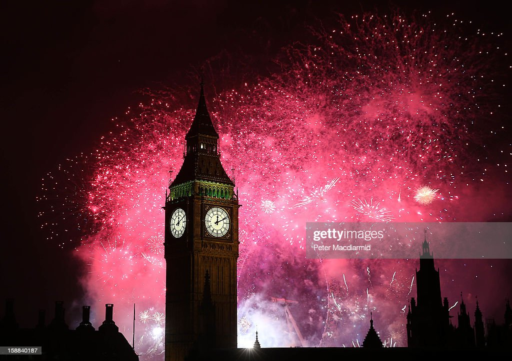 Fireworks light up the London skyline and Big Ben just after midnight on January 1, 2013 in London, England. Thousands of people are lining the banks of the River Thames near Parliament in central London to herald the start of 2013.