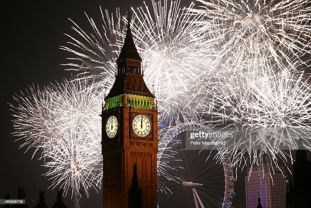 Fireworks light up the London skyline and Big Ben just after midnight on January 1, 2015 in London, England. For the first time thousands of people have bought tickets to stand on the banks of the River Thames near Parliament to celebrate the start of 2015.