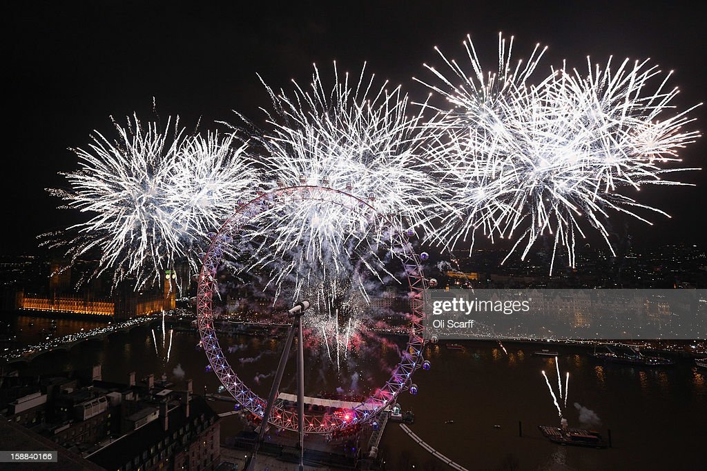 Fireworks light up the London skyline just after midnight on January 1, 2013 in London, England. Thousands of people lined the banks of the River Thames near Parliament in central London to herald the start of 2013.