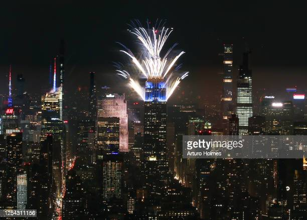 Fireworks light up the New York sky on July 04 2020 in New York City This is part of six July 4th firework displays in locations around the city that...