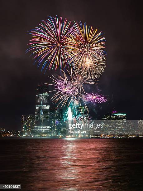 CONTENT] Fireworks light up the night on the Hudson River during Super Bowl week in early 2014 The Jersey City skyline provides the background