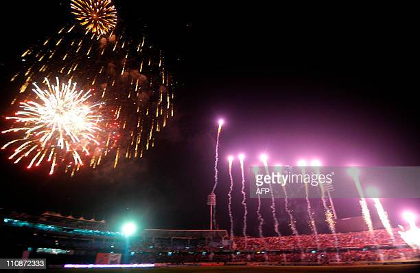 Fireworks light up the night sky at the conclusion of the quarter-final match of the ICC Cricket World Cup 2011 between South Africa and New Zealand...