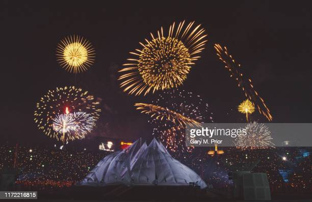 Fireworks light up the night sky during the closing ceremony of the XVIII Olympic Winter Games on 24th February 1998 at the Nagano Olympic Stadium...
