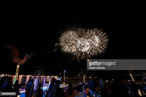 Fireworks light up the night sky during the pretornament cocktail party at the Jebel Ali Hotel and Beach Resort as a preview for the 2017 Omega Dubai...