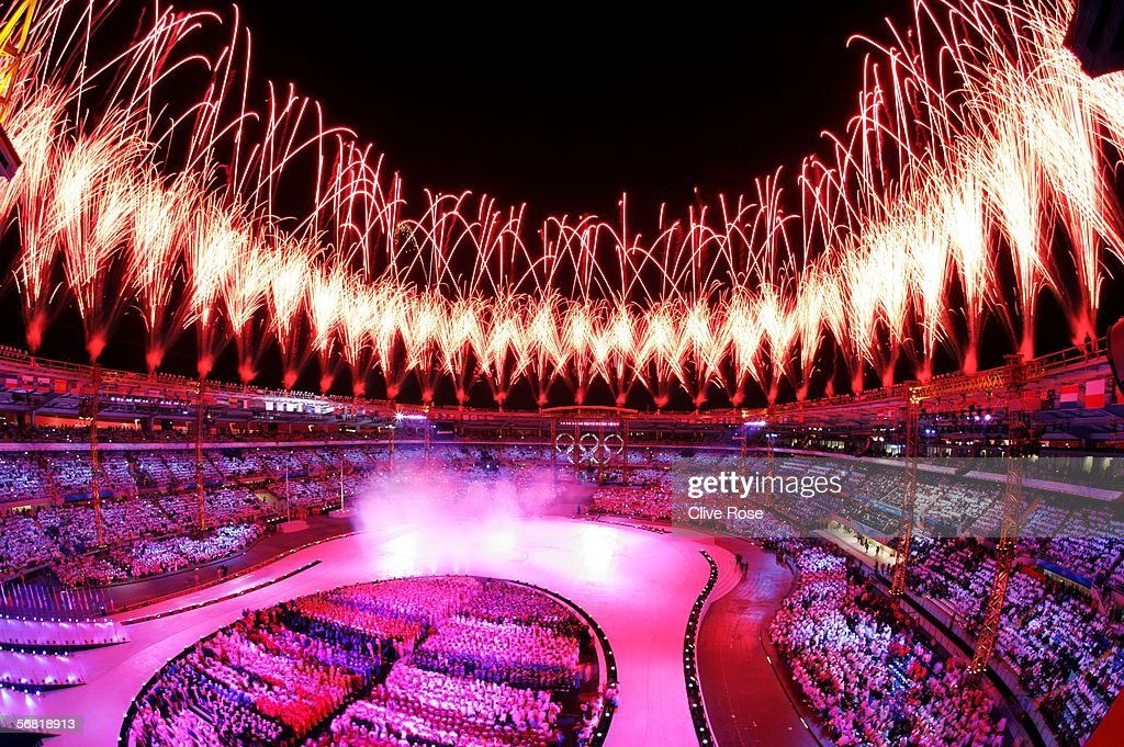 Fireworks light up the Olympic stadium during the Opening Ceremony of the Turin 2006 Winter Olympic Games on February 10, 2006 in Turin, Italy.