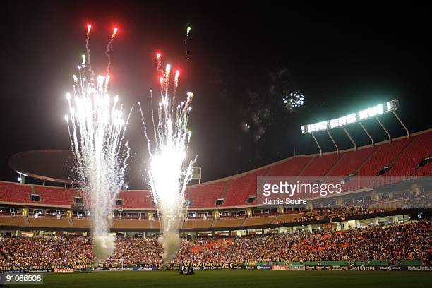 Fireworks light up the playing prior to the Mexican First Division 'Clásico Nacional' match between Chivas de Guadalajara and Club América at...