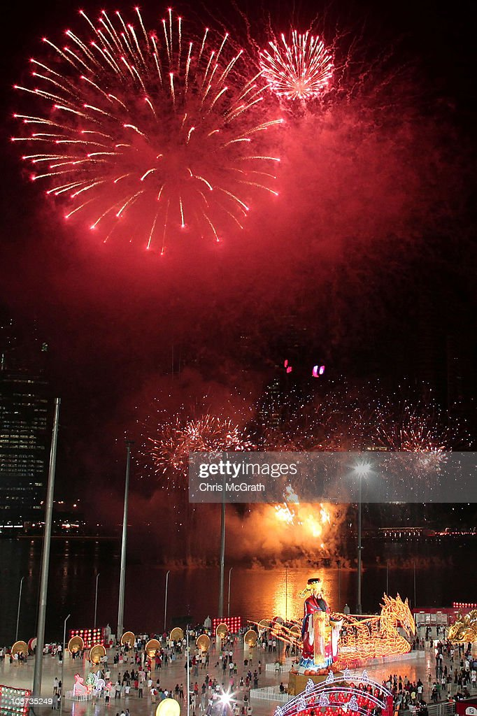 fireworks light up the singapore skyline at midnight during the river hongbao festival celebrating chinese new - Chinese New Year 2011