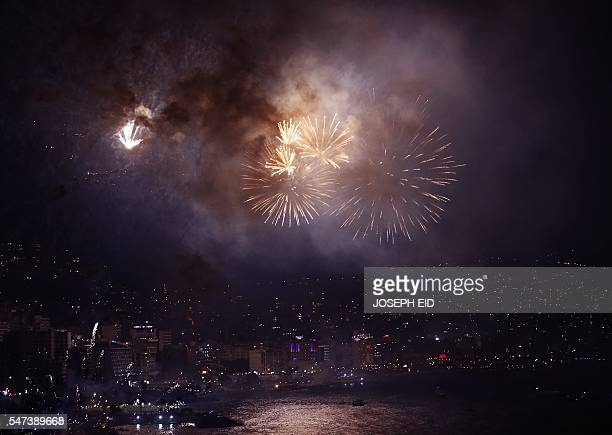Fireworks light up the skies over the Jounieh bay north of Beiurt during the launch of the city's international festival on July 14 2016 / AFP /...