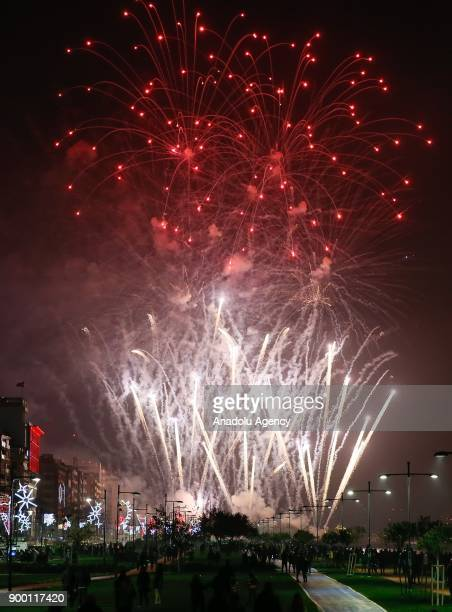 Fireworks light up the sky above Cumhuriyet Square in Izmir Turkey on January 01 2018