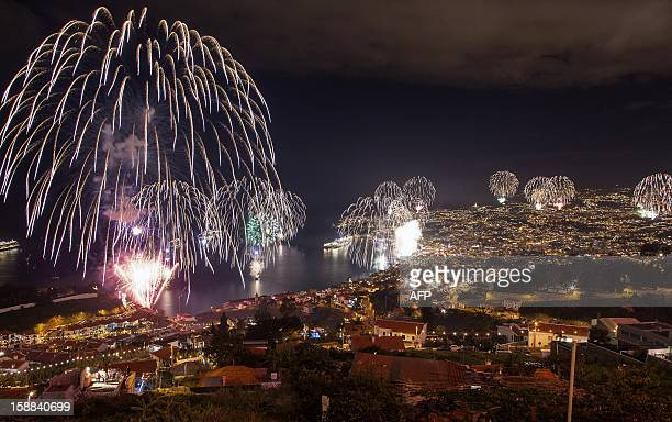 Fireworks light up the sky above Funchal Bay Madeira Island to celebrate the arrival of the New Year on January 1 2013 World cities from Sydney to...