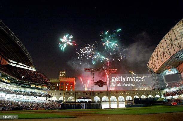 Fireworks light up the sky above Minute Maid Park on July 3 2004 in Houston Texas Houston will host the MLB AllStar game on July 13 2004