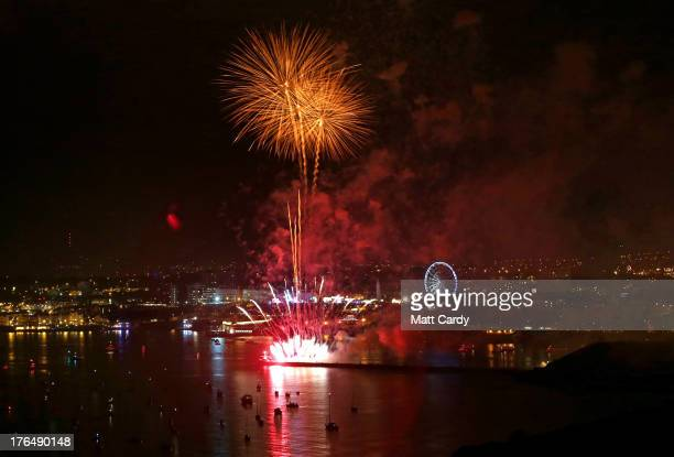 Fireworks light up the sky above Plymouth as part of the annual British Firework Championships on August 13 2013 in Plymouth England The twoday event...