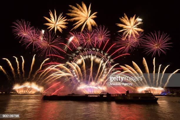 Fireworks light up the sky above the London Eye during the new year celebrations in London United Kingdom on January 01 2018