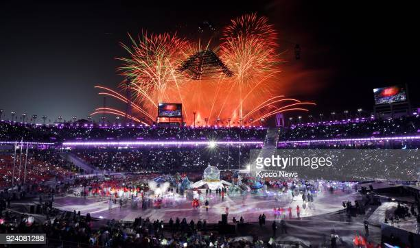 Fireworks light up the sky during the closing ceremony of the Winter Olympics in Pyeongchang South Korea on Feb 25 2018 ==Kyodo